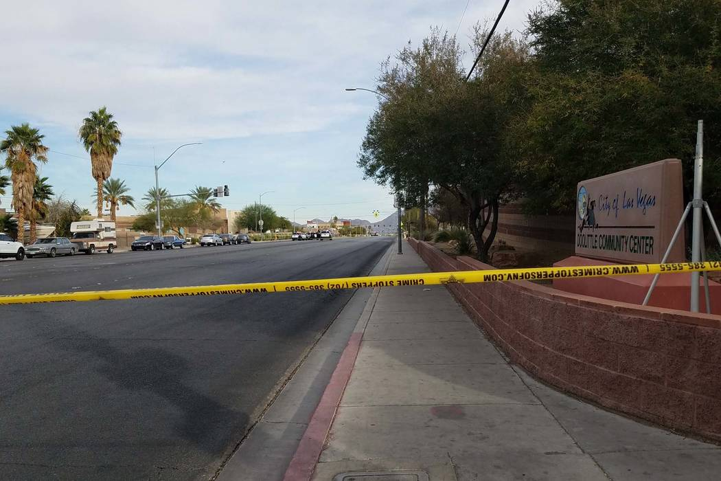 Las Vegas police investigate a deadly shooting on West Lake Mead Boulevard near H Street, Sunday, Nov. 4, 2018. (Katelyn Newberg/Las Vegas Review-Journal)