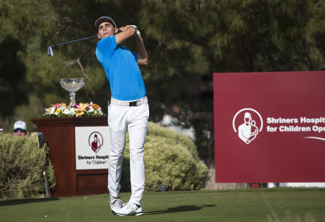 Joaquin Niemann of Chile tees off from the first box during the final round of the Shriners Hospitals for Children Open at TPC at Summerlin in Las Vegas on Sunday, Nov. 4, 2018. Richard Brian ...