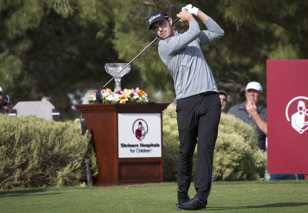 Patrick Cantlay tees off from the first box during the final round of the Shriners Hospitals for Children Open tournament at TPC at Summerlin in Las Vegas on Sunday, Nov. 4, 2018. Richard Brian La ...