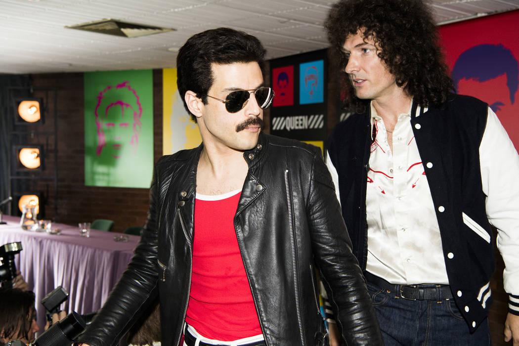 "This image released by Twentieth Century Fox shows Rami Malek, left, and Gwilym Lee in a scene from ""Bohemian Rhapsody."" (Alex Bailey/Twentieth Century Fox via AP)"
