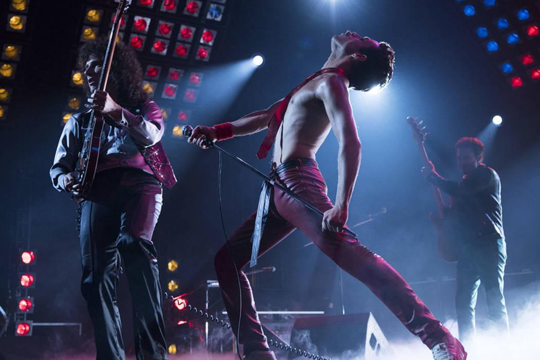 "This image released by Twentieth Century Fox shows Gwilym Lee, from left, Rami Malek and Joe Mazzello in a scene from ""Bohemian Rhapsody."" (Alex Bailey/Twentieth Century Fox via AP)"