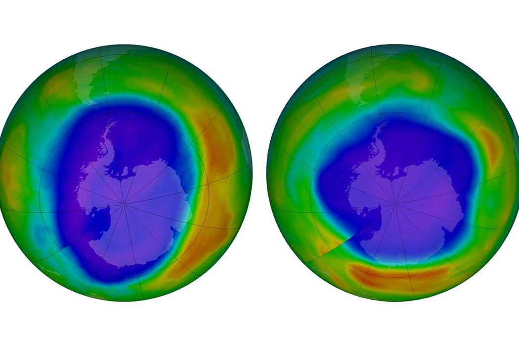 This combination of images made available by NASA shows areas of low ozone above Antarctica on September 2000, left, and September 2018. The purple and blue colors are where there is the least ozo ...