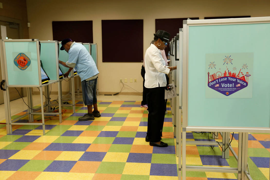 People cast their vote on the first day of early voting for Nevada's primary election at Pearson Center in North Las Vegas, Saturday, May 26, 2018. Chitose Suzuki Las Vegas Review-Journal @chitose ...