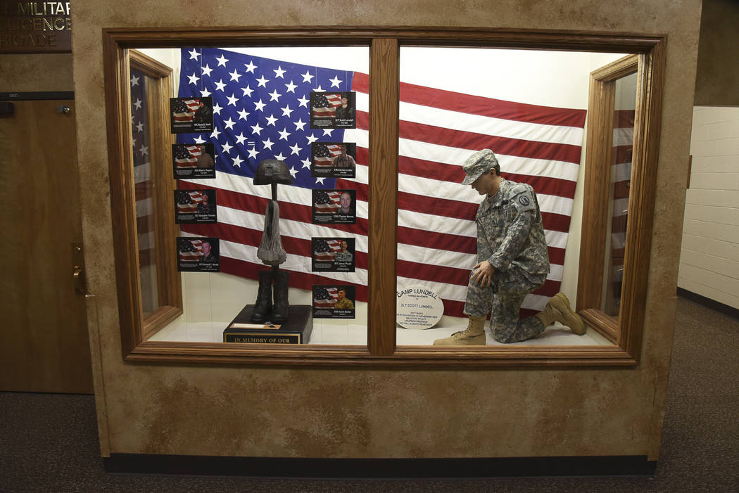 The Fallen Soldier Tribute is shown at the Utah Army National Guard Recruiting building Sunday, Nov. 4, 2018, in Draper, Utah. (Francisco Kjolseth/The Salt Lake Tribune, via AP)
