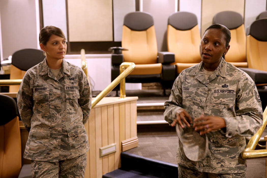 Sustainment Supervisor, Senior Master Sgt. Shametra Cash, right, and Project Manager, 2nd Lt. Amanda Burkhardt, talk about renovations to The Club at Nellis Air Force Base Friday, Nov. 2, 2018. K. ...