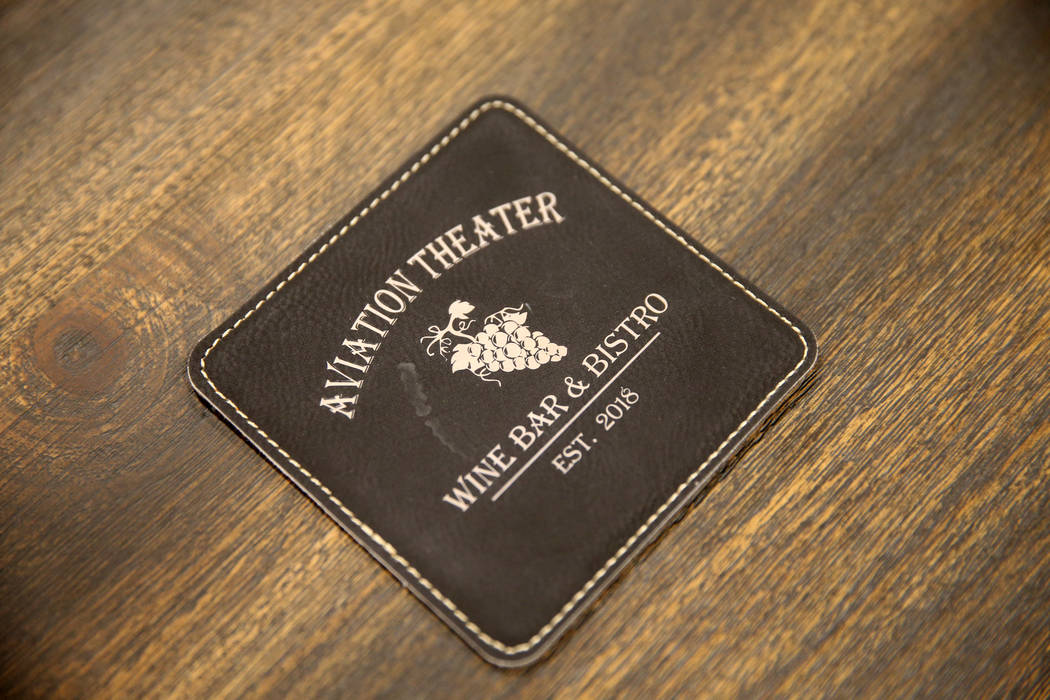 A coaster for rhe Aviation Theater Wine Bar & Bistro inside The Club at Nellis Air Force Base Friday, Nov. 2, 2018. K.M. Cannon Las Vegas Review-Journal @KMCannonPhoto