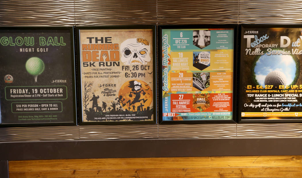 Advertisement posters inside The Club at Nellis Air Force Base Friday, Nov. 2, 2018. K.M. Cannon Las Vegas Review-Journal @KMCannonPhoto