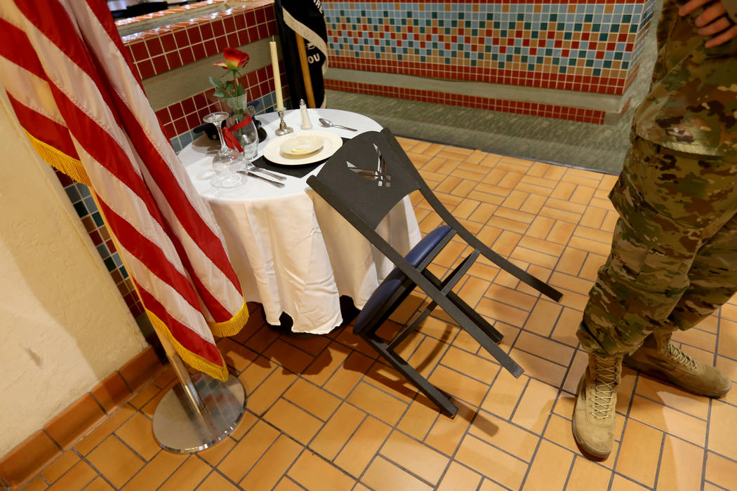 The prisoner of war/missing in action table inside Crosswinds Inn Dinning Facility at Nellis Air Force Base Friday, Nov. 2, 2018. K.M. Cannon Las Vegas Review-Journal @KMCannonPhoto