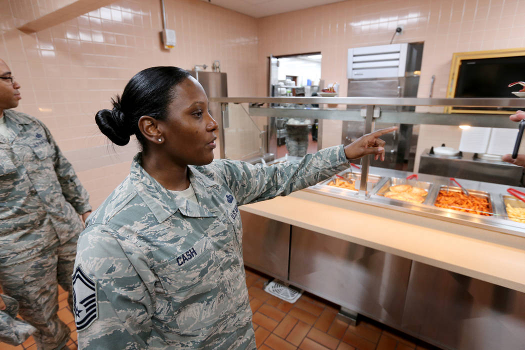 Senior Master Sgt. Shametra Cash shows the food line inside Crosswinds Inn Dinning Facility at Nellis Air Force Base Friday, Nov. 2, 2018. K.M. Cannon Las Vegas Review-Journal @KMCannonPhoto