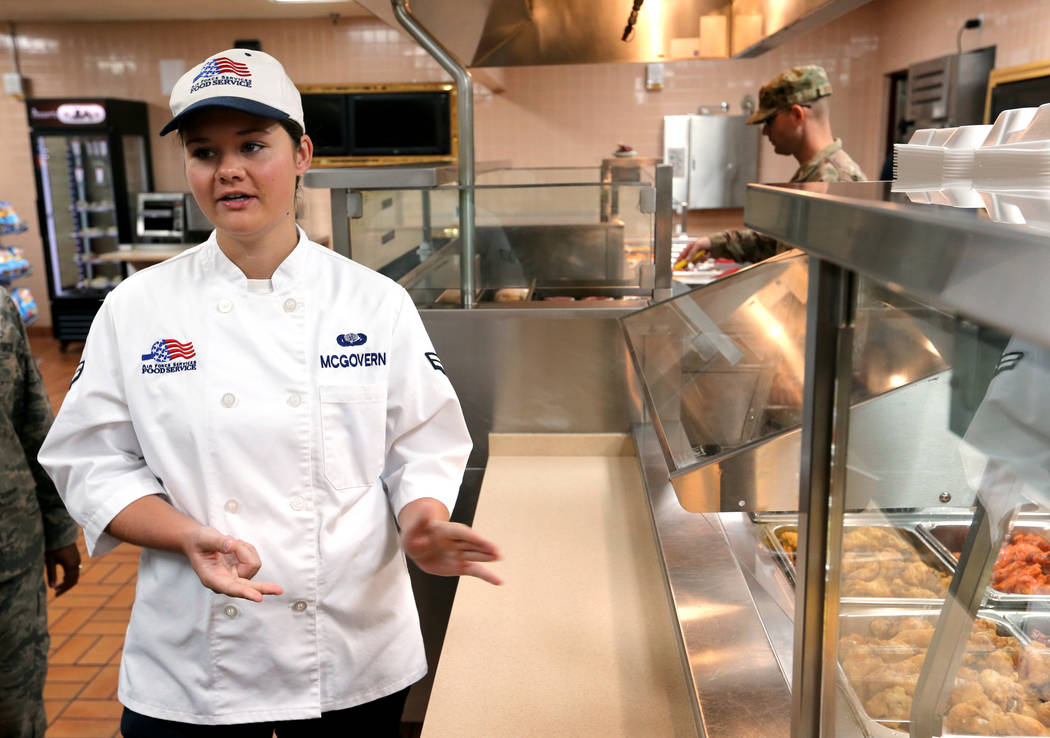 Airman 1st Class Kendall McGovern, 99th Force Support Squadron chef shows the food line inside Crosswinds Inn Dinning Facility at Nellis Air Force Base Friday, Nov. 2, 2018. K.M. Cannon Las Vegas ...