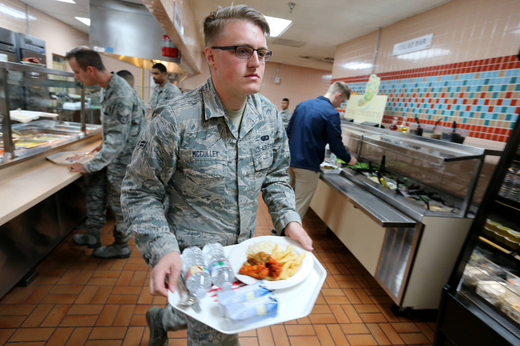 Airman 1st Class Garrett McCulley gets his lunch in the food line inside Crosswinds Inn Dinning Facility at Nellis Air Force Base Friday, Nov. 2, 2018. K.M. Cannon Las Vegas Review-Journal @KMCann ...