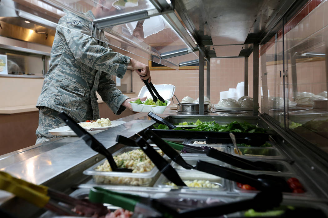Airman Dylan Belvins at the salad bar inside Crosswinds Inn Dinning Facility at Nellis Air Force Base Friday, Nov. 2, 2018. K.M. Cannon Las Vegas Review-Journal @KMCannonPhoto