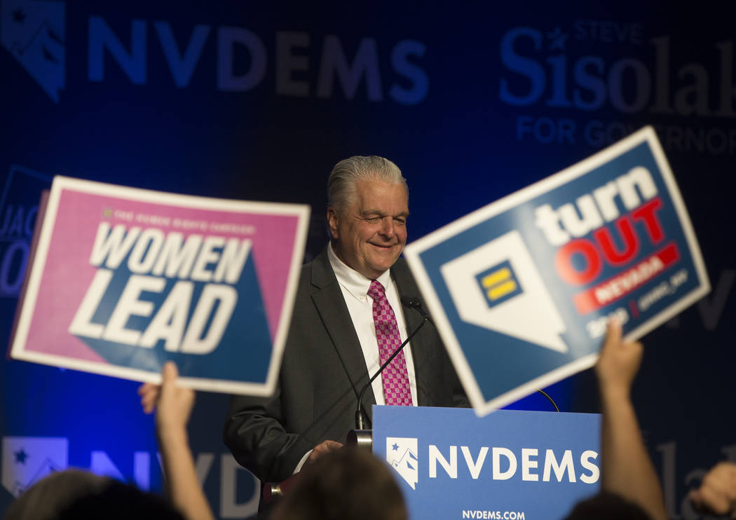 Nevada Democratic gubernatorial candidate Steve Sisolak delivers his victory speech at an election night watch party in Las Vegas, Tuesday, Nov. 7, 2018. Benjamin Hager Las Vegas Review-Journal