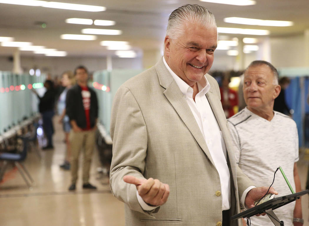 Nevada Democratic gubernatorial candidate Steve Sisolak waits to cast his vote at a polling station at Kenny Guinn Middle School in Las Vegas, Tuesday, Nov. 6, 2018. Erik Verduzco Las Vegas Review ...