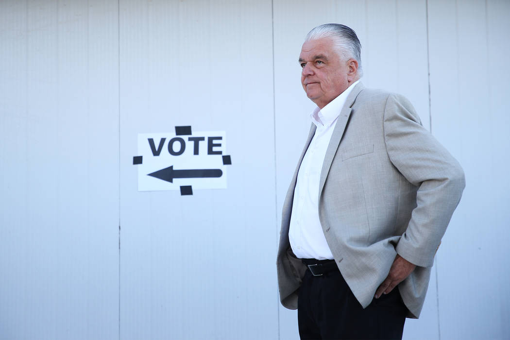 Steve Sisolak, Democratic candidate for Nevada governor, waits in line to cast his vote at a polling station at Kenny Guinn Middle School in Las Vegas, Tuesday, Nov. 6, 2018. Erik Verduzco Las Veg ...