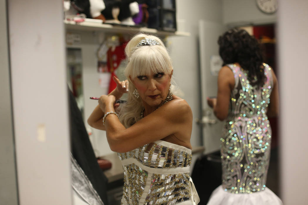 Miss Senior Italy CJ Marie preps her hair before the gown competition at the Miss Senior Universe Pageant at the Fabulous Saxe Theatre in Las Vegas, Saturday, Nov. 3, 2018. Rachel Aston Las Vegas ...