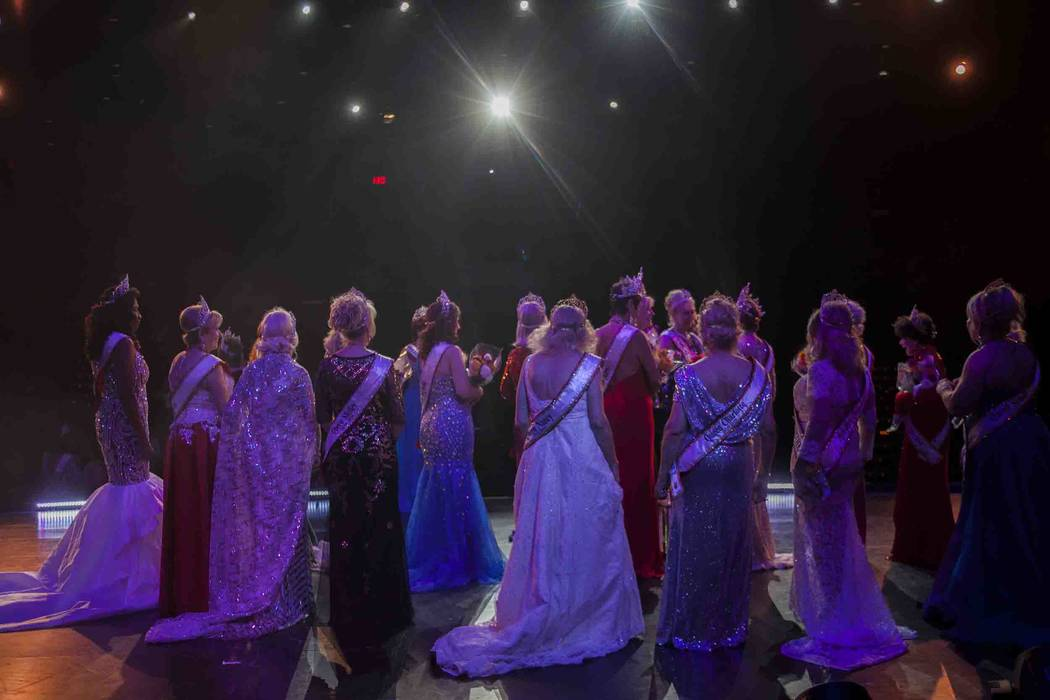 The winning and runner-up queens wait on stage for photos at the Miss Senior Universe Pageant at the Fabulous Saxe Theatre in Las Vegas, Saturday, Nov. 3, 2018. Rachel Aston Las Vegas Review-Journ ...