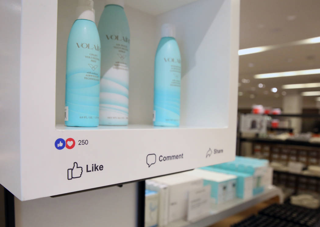 Cosmetics shelving at a Facebook-branded space inside of Macy's at the Fashion Show shopping center on Friday, Nov. 9, 2018, in Las Vegas. Bizuayehu Tesfaye/Las Vegas Review-Journal @bizute ...