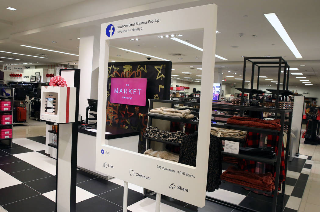 A Facebook-branded space inside of Macy's at the Fashion Show shopping center photographed on Friday, Nov. 9, 2018, in Las Vegas. Bizuayehu Tesfaye/Las Vegas Review-Journal @bizutesfaye