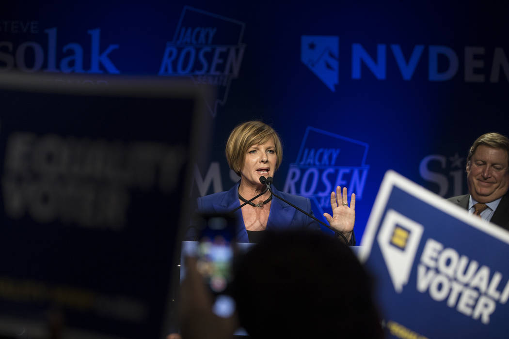Susie Lee addresses the crowd after winning Nevada's Third Congressional District seat at an election night event hosted by the Nevada Democrats on Tuesday, November 6, 2018, at Caesars Pal ...