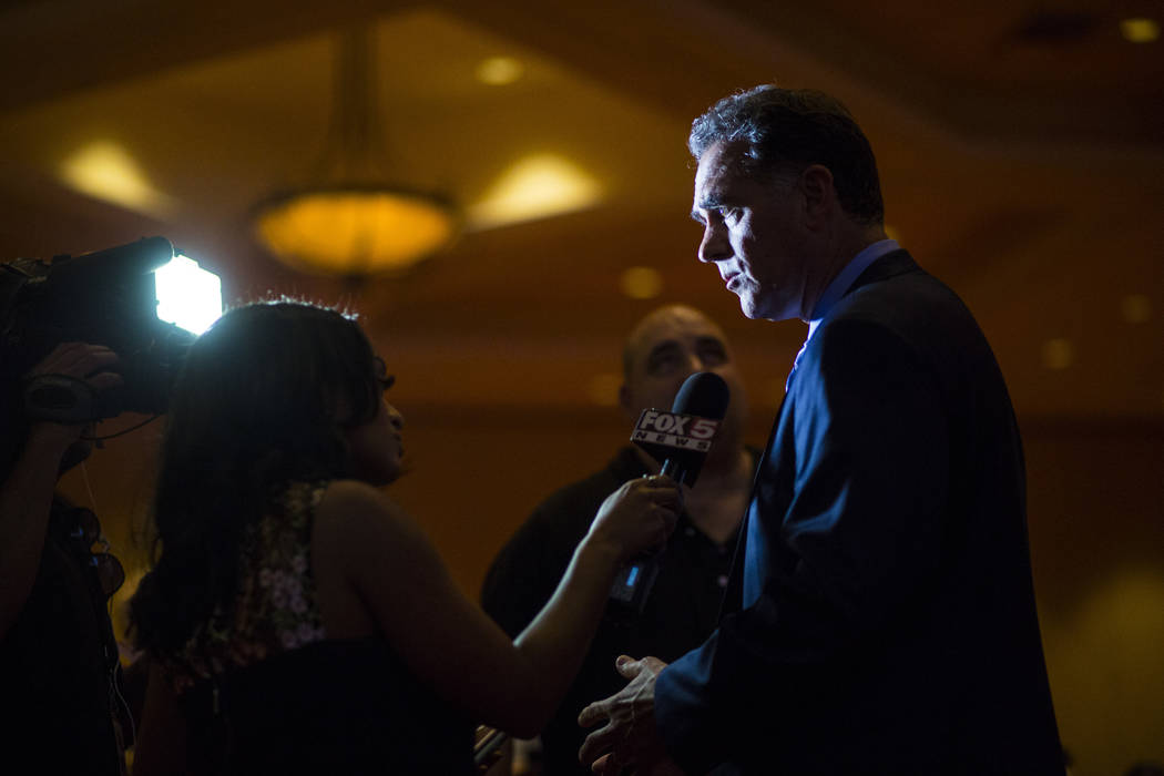 Danny Tarkanian, Republican candidate for the 3rd Congressional District, talks about his loss in the race during the Nevada Republican Party election night watch party at the South Point in Las V ...