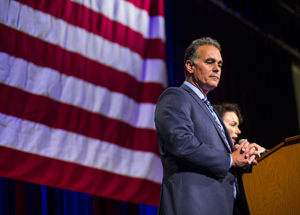 Danny Tarkanian, Republican candidate for the 3rd Congressional District, looks on after conceding to Democratic candidate Susie Lee during the Nevada Republican Party election night watch party a ...