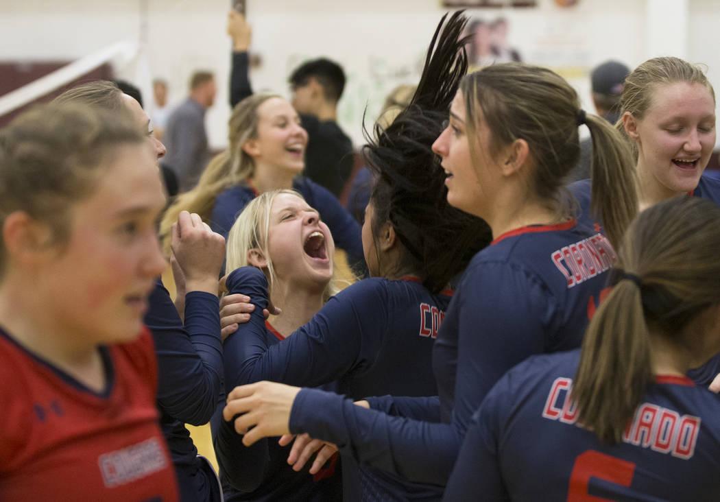 Coronado celebrates after defeating Palo Verde during the Class 4A state volleyball quarterfinal on Monday, November 5, 2018, at Eldorado High School, in Las Vegas. Benjamin Hager Las Vegas Review ...