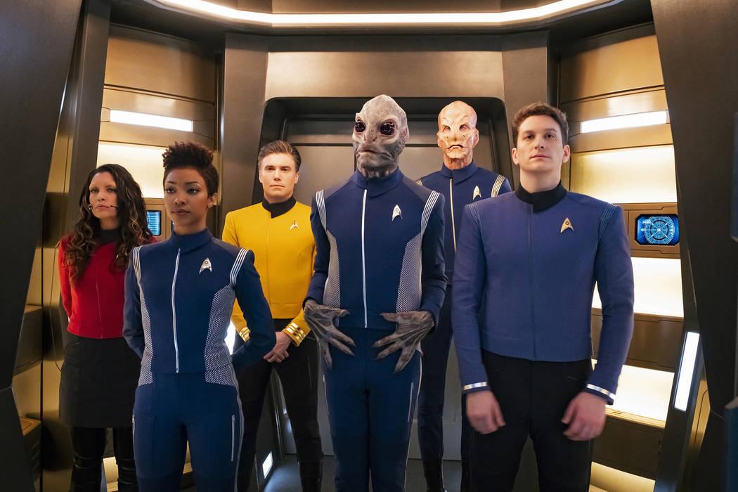 Rachael Ancheril as Lt. Nhan; Sonequa Martin-Green as Michael Burnham; Anson Mount as Captain Pike; David Benjamin Tomlinson as Linus; Doug Jones as Saru: Sean Connolly Affleck as Lt. Connolly of ...