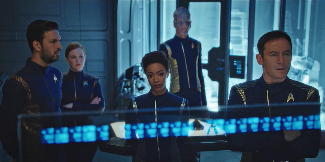 Shazad Latif as Lieutenant Ash Tyler; Mary Wiseman as Cadet Sylvia Tilly; Sonequa Martin-Green as First Officer Michael Burnham; Doug Jones as Lieutenant Saru; Jason Isaacs as Captain Gabriel Lorc ...