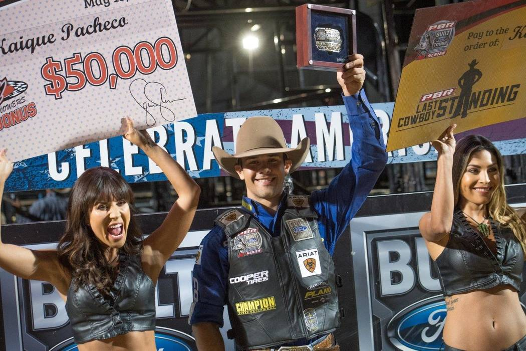 "PBR's ""Last Cowboy Standing"" on Saturday, May 13, 2017, at Las Vegas Village. Champion Kaique Pacheco, 22, of Brazil is pictured here. (Tom Donoghue)"