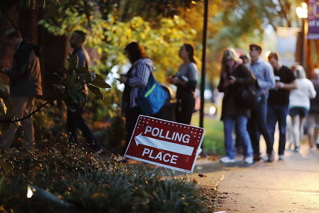 A line forms outside a polling site on election day in Atlanta, Tuesday, Nov. 6, 2018. (David Goldman/AP)