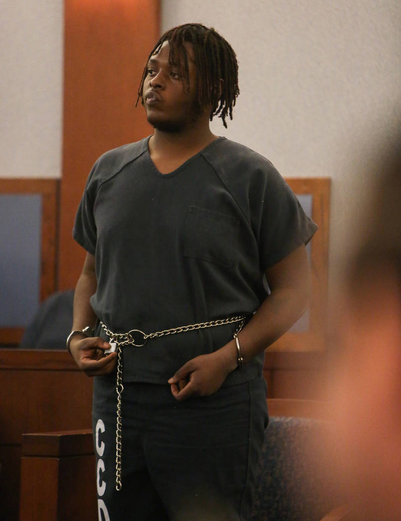 Erin Deshawn Lynn Hines, the suspect in the shooting of an 11-year-old girl in North Las Vegas, appears for his arraignment at the Regional Justice Center in Las Vegas, Tuesday, Nov. 6, 2018. Caro ...