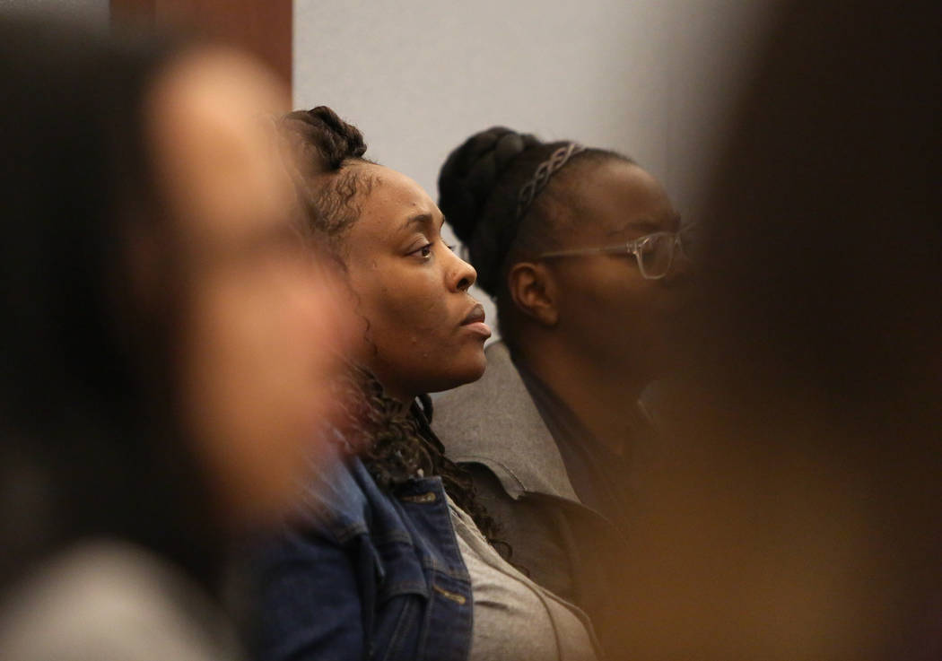 The family of Erin Deshawn Lynn Hines, the suspect in the shooting of an 11-year-old girl in North Las Vegas, appear his for arraignment at the Regional Justice Center in Las Vegas, Tuesday, Nov. ...