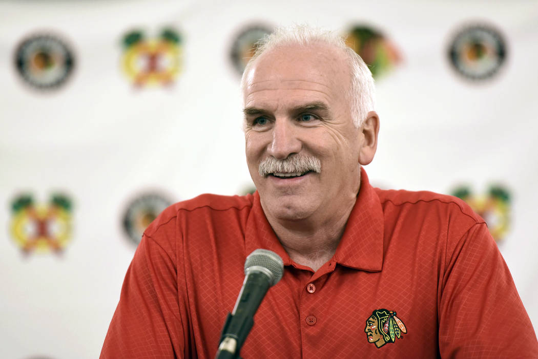 Chicago Blackhawks' head coach Joel Quenneville speaks at a news conference during the NHL hockey team's convention in Chicago, July 21, 2017. The Blackhawks have fired the three-time Stanley Cup ...