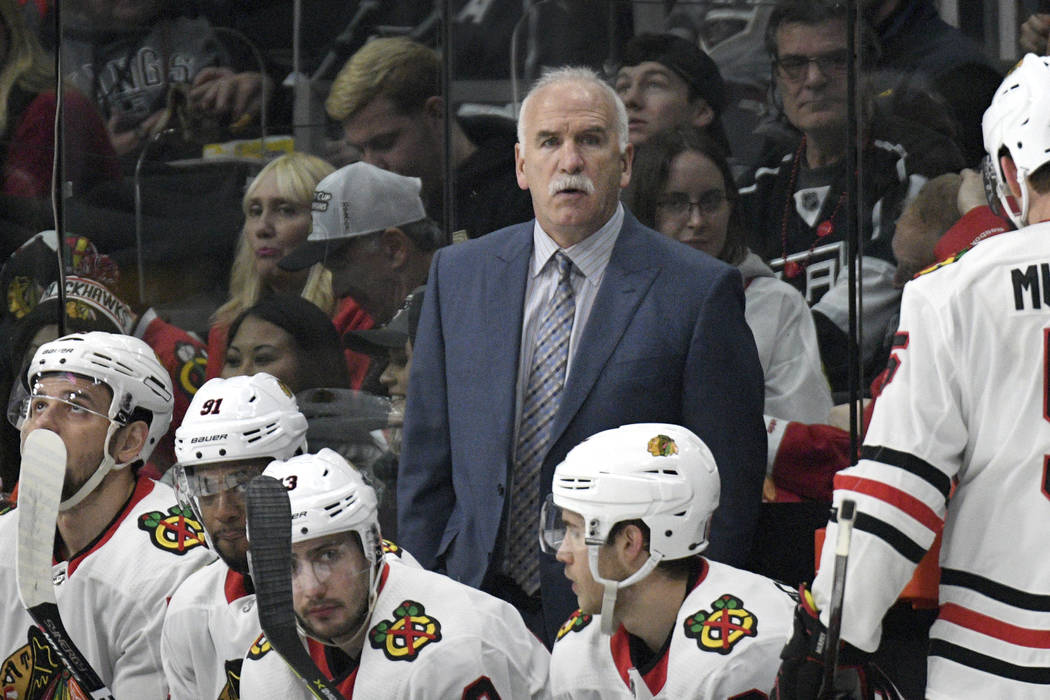 Chicago Blackhawks head coach Joel Quenneville during an NHL hockey game against the Los Angeles Kings, Saturday, March 3, 2018, in Los Angeles. (Michael Owen Baker/AP)