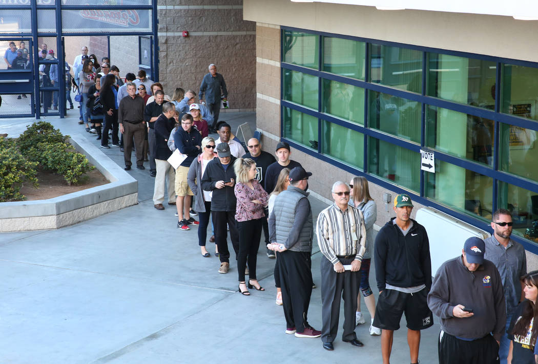 Voters lined up to cast their vote at a polling station at Coronado High School on Tuesday, Nov. 6, 2018, in Henderson. (Bizuayehu Tesfaye/Las Vegas Review-Journal) @bizutesfaye