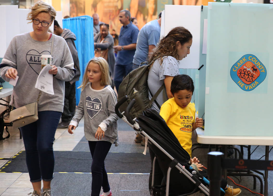Nickolas Torero, 6, right, plays with his one-year-old brother Lucas, as his mother Gladys casts her ballots at a polling station at Galleria Mall on Tuesday, Nov. 6, 2018, in Henderson. (Bizuaye ...