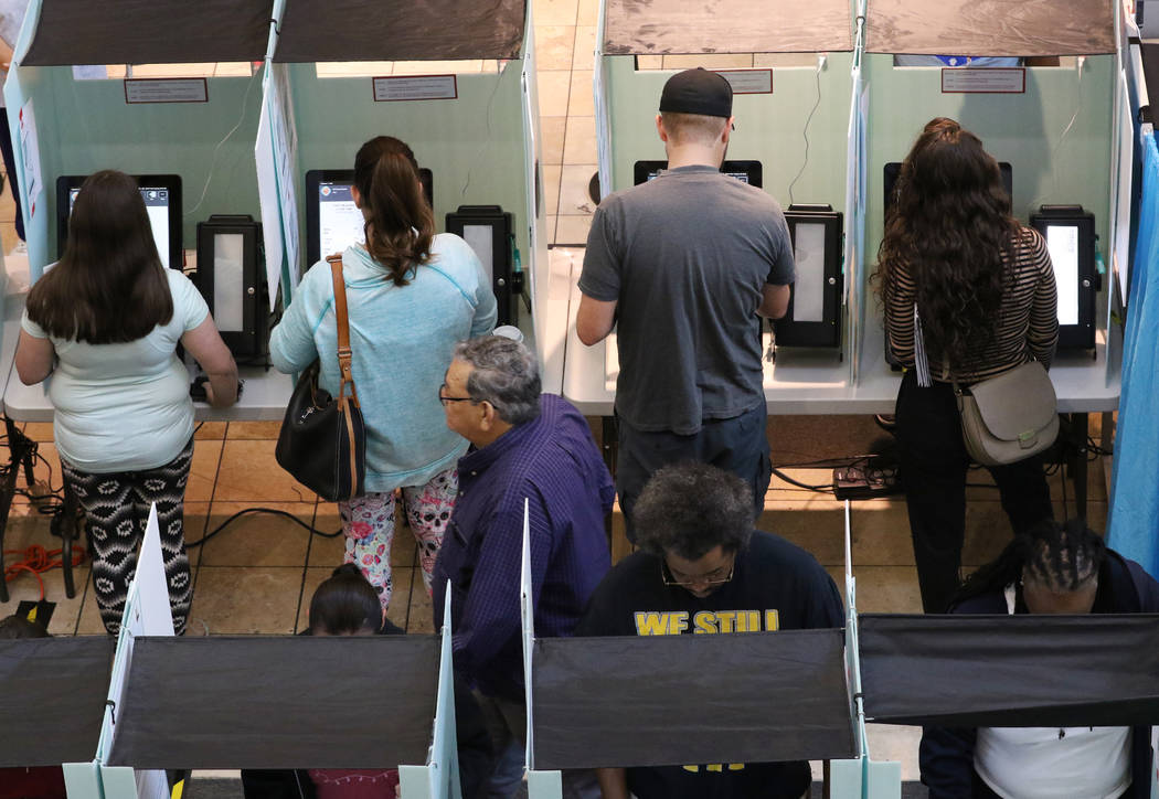 Voters cast their ballots at a polling station at Galleria Mall on Tuesday, Nov. 6, 2018, in Henderson. (Bizuayehu Tesfaye/Las Vegas Review-Journal) @bizutesfaye