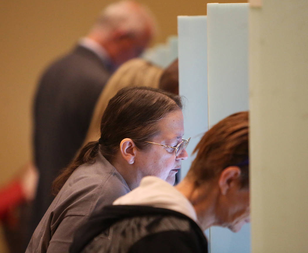 Voters cast their ballots at a polling station at Historic Fifth Street School in Las Vegas, Tuesday, Nov. 6, 2018. Caroline Brehman/Las Vegas Review-Journal
