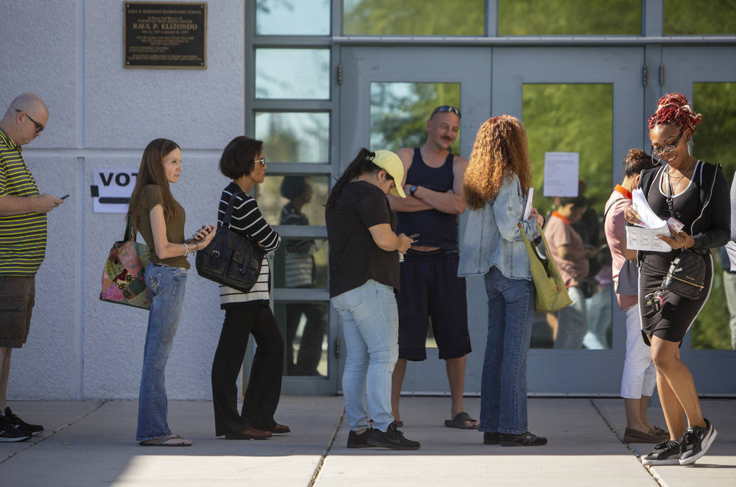 Voters stand in line to cast their ballots at a polling station at Raul Elizondo Elementary School in North Las Vegas, Tuesday, Nov. 6, 2018. Caroline Brehman/Las Vegas Review-Journal