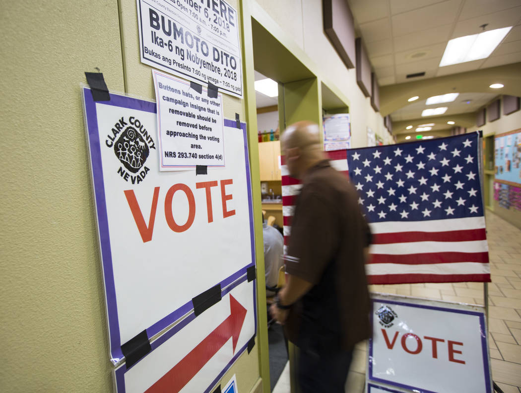 People arrive to cast their votes at a polling station at Stupak Community Center in Las Vegas on Tuesday, Nov. 6, 2018. Chase Stevens Las Vegas Review-Journal @csstevensphoto