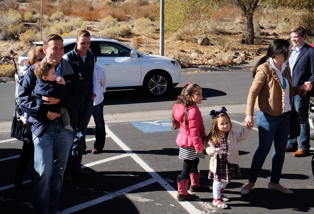 Adam Laxalt, Republican candidate for Nevada governor, arrives to vote with his family on Election Day 2018 at Bartley Ranch Regional Park in Reno. (Bill Dentzer/Las Vegas Review-Journal)