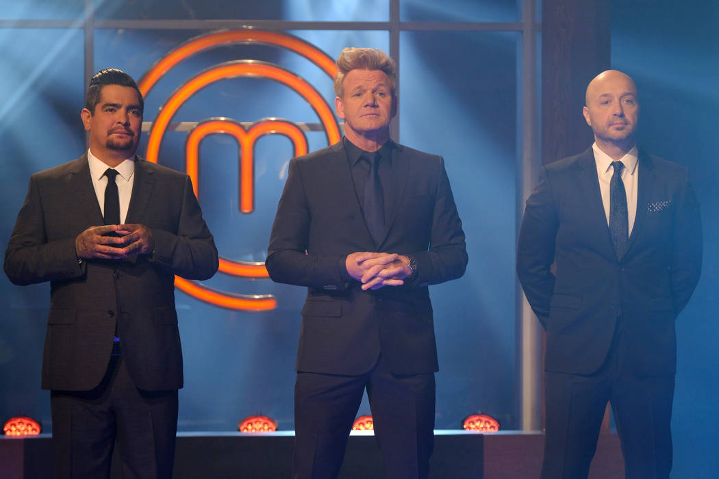 "MASTERCHEF: L-R: Judge Aaron Sanchez, host / judge Gordon Ramsay and judge Joe Bastianich in the ""Finale Pt. 1/Finale Pt. 2"" two-hour season finale episode of MASTERCHEF airing Wednesday ..."