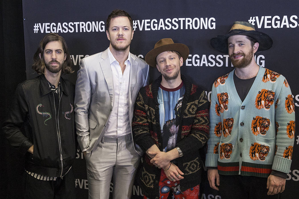 Imagine Dragons Wayne Sermon, Dan Reynolds, Ben McKee and Daniel Platzman on the red carpet before the start of the Vegas Strong Benefit Concert at T-Mobile Arena on Friday, Dec. 1, 2017, in Las V ...