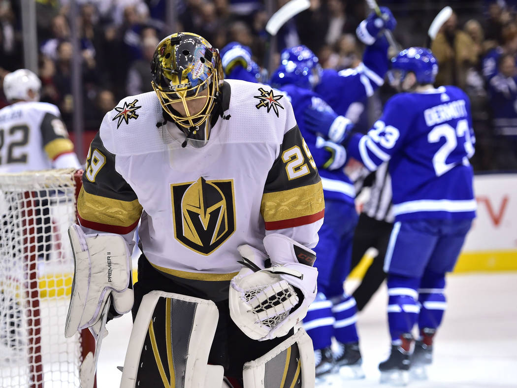 Vegas Golden Knights goaltender Marc-Andre Fleury (29) reacts after giving up a goal to the Toronto Maple Leafs during the first period of an NHL hockey game Tuesday, Nov. 6, 2018, in Toronto. (Fr ...