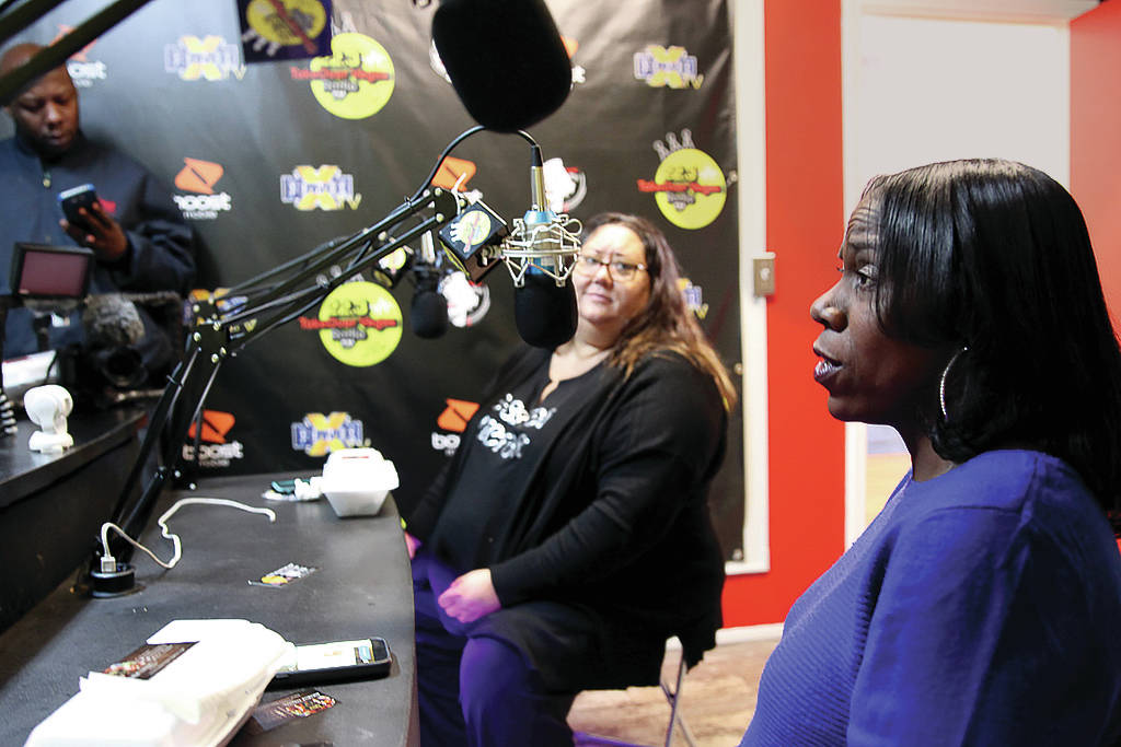 """Myscie Boren, left, and Indi Kaufman are interviewed by DeVonna """"Kat"""" Normand during Normand's Sin City Heat show at 22.3 TakeOver Vegas Radio internet radio station in Las Vegas Friday, ..."""
