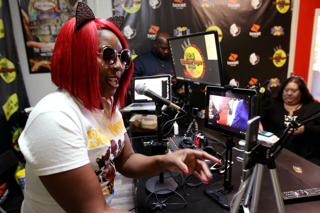 """DeVonna """"Kat"""" Normand engages with a listener on Facebook Live during her Sin City Heat show at 22.3 TakeOver Vegas Radio internet radio station in Las Vegas Friday, Nov. 9, 2018. Norman ..."""