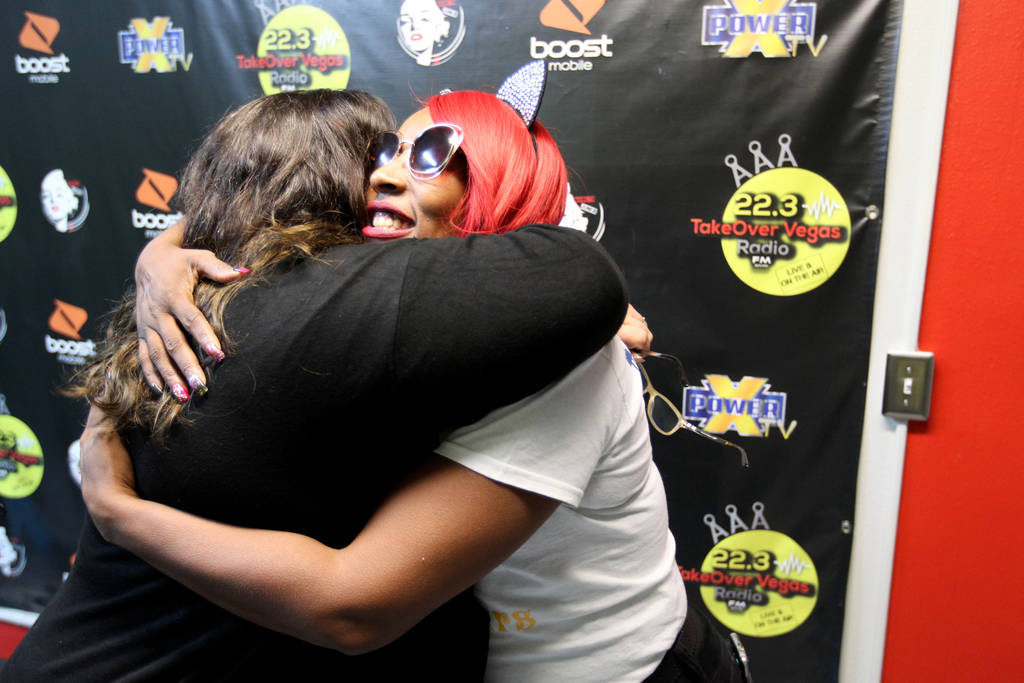 """DeVonna """"Kat"""" Normand, right, hugs Myscie Boren after her Sin City Heat show at 22.3 TakeOver Vegas Radio internet radio station in Las Vegas Friday, Nov. 9, 2018. Normand and Boren say ..."""