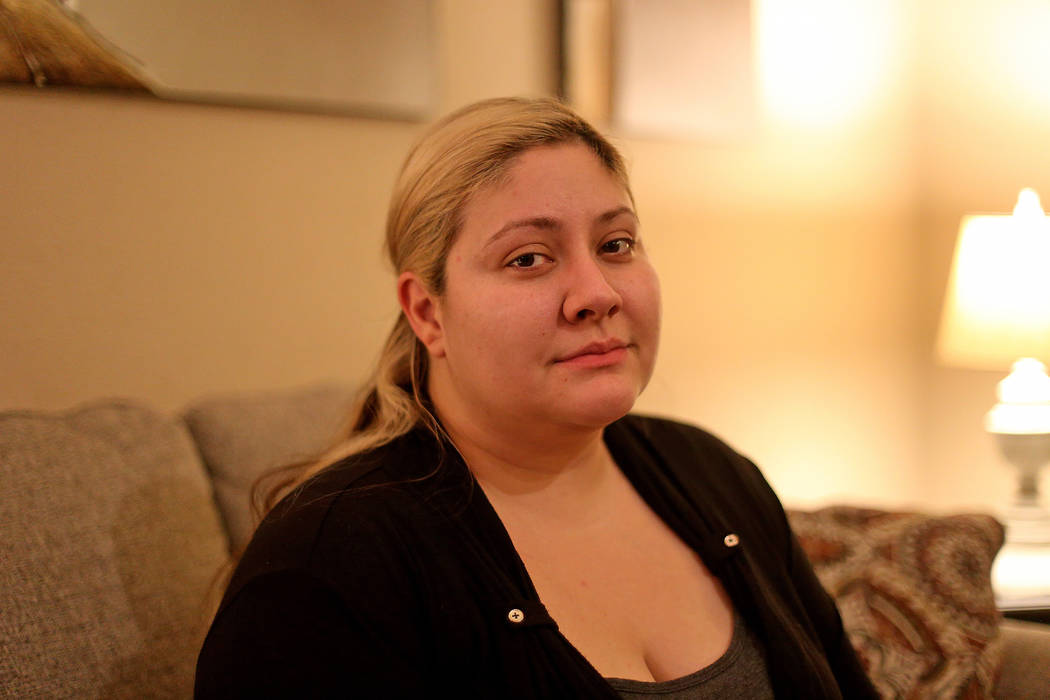 Lorena Llamas at her home in North Las Vegas, Thursday, Nov. 8, 2018. Llamas is one of thousands of women who have claimed to have suffered chronic and debilitating pain, heavy, endless bleeding a ...