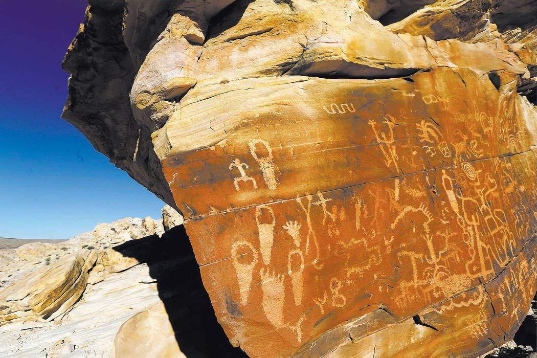 Petroglyphs at Gold Butte National Monument on Tuesday, Jan. 17, 2017. (Las Vegas Review-Journal)